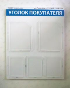 Уголок потребителя на 2 кармана А4 формата и 3 кармана А5 формата